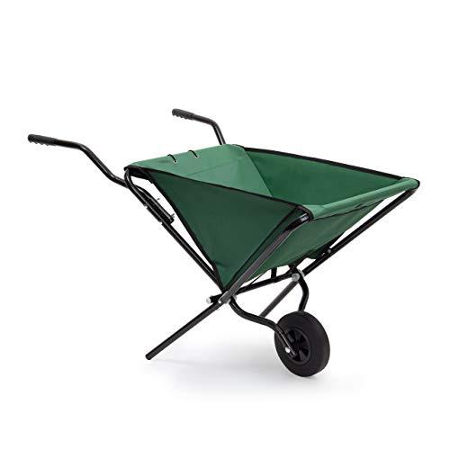 Relaxdays Opvouwbare kruiwagen, 66 x 64 x 112 cm, staal, opvouwbaar, met robuust polyester, ruimtebesparend, tuinkar tot 30 kg, kleur groen