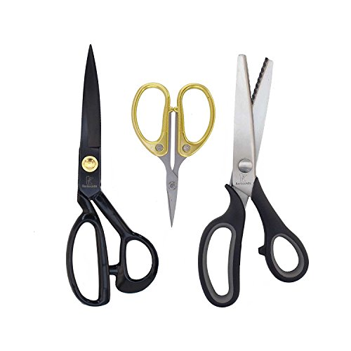 Sewing Scissors Set w/Pinking Shear, Embroidery Shear & Fabric Shear - 1 Set - BambooMN
