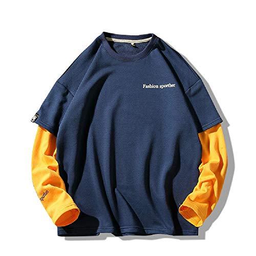 Maglione Uomo Girocollo Allentato Bottoming Camicia Coppia Casual Manica Lunga T-Shirt Blu XXXXXL