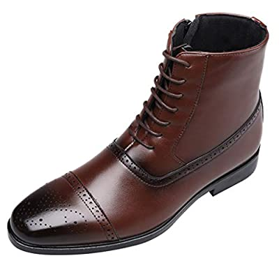 Men Leather Boots With Side Zipper Male Mid Calf Boots Lace Up Fashion High Tube Breathable Formal Shoes
