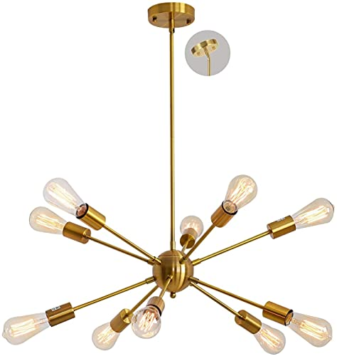 Gold Sputnik Chandelier 10 Light Brushed Brass Pendant Lighting Mid Century Modern Ceiling Lighting Fixture for Dining Room Kitchen Foyer,for Flat/Sloped/Vaulted Ceiling