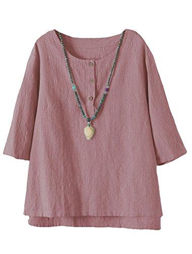Vogstyle Damen Neue Baumwoll Leinen Tunika T-Shirt Jacquard Oberseiten (XL, Rosa)