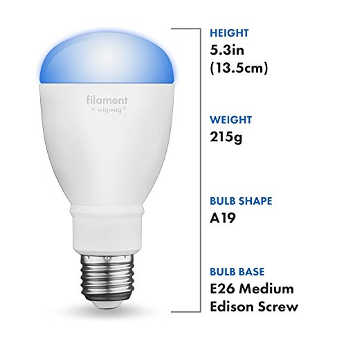 Filament Expansion Smart LED Light Bulb for WigWag Relay, Adjustable Warm to Cool Whites,...