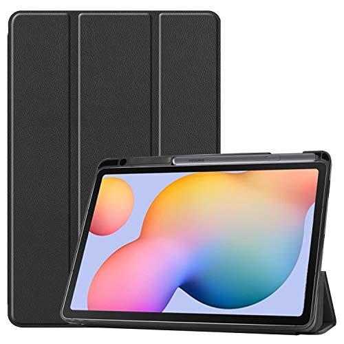 NUPO Hülle für Samsung Galaxy Tab S6 Lite 10.4 2020, Schutzhülle mit Stifthalter PU Lederhülle mit Standfunktion, Sleep Wake Up Funktion Kompatibel Galaxy Tab S6 Lite 10.4 SM-P610/P615, Schwarz