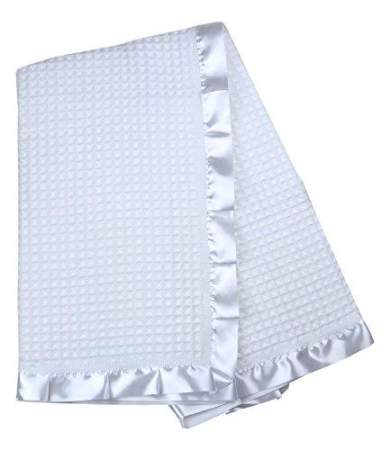 BabyPrem Baby Bettwäsche Große Taufe Strickdecke Schal Taufe-Decke Satin Rand Weiß