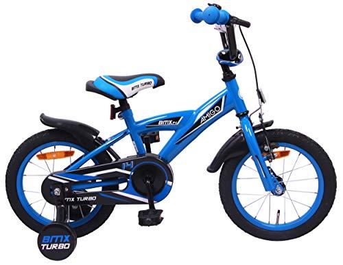 Amigo BMX Turbo - Vélo Enfant pour garçons - 14 Pouces - avec Frein à Main, Frein à rétropédalage, Sonnette de vélo et stabilisateurs vélo - à partir de 3-4 Ans - Bleu