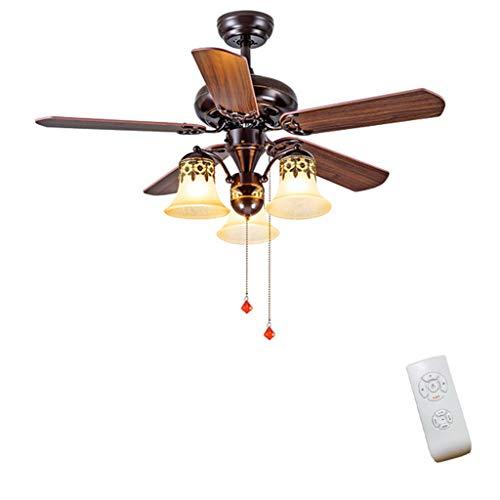 JINWELL Deckenventilatoren Nordic Brown Vintage Deckenventilator mit Beleuchtung Fernbedienung Dimmen Control Fan LED-Licht Schlafzimmer Esszimmer Lagerraum Deckenventilatoren Led Decke,3heads