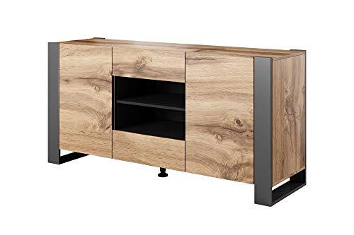 BIM Furniture Kommode NUNKI 164 cm Sideboard Highboard Schrank Wotan Eiche Anthrazit Zwei Regal Zwei Schibladen