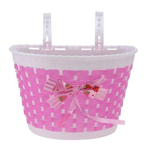 Vorcool Fahrradkorb für Kinder, gewobener Korb mit Schleife, für Fahrrad und Skateboard, für Mädchen (Rosa)