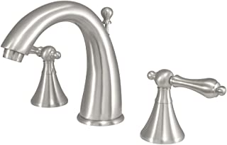Kingston Brass KS2978AL Naples Widespread Lavatory Faucet with Metal lever handle, Brushed Nickel