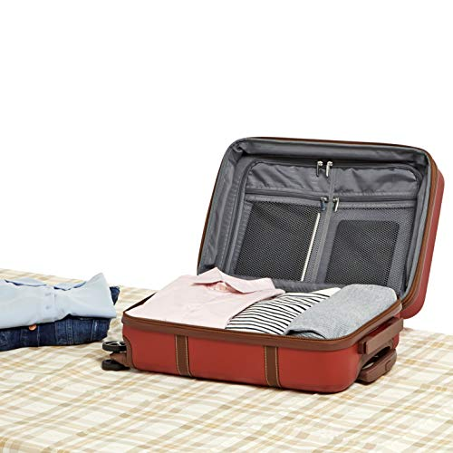 AmazonBasics Vienna Expandable Carry-On Luggage Spinner Suitcase - 21.6 Inch, Red