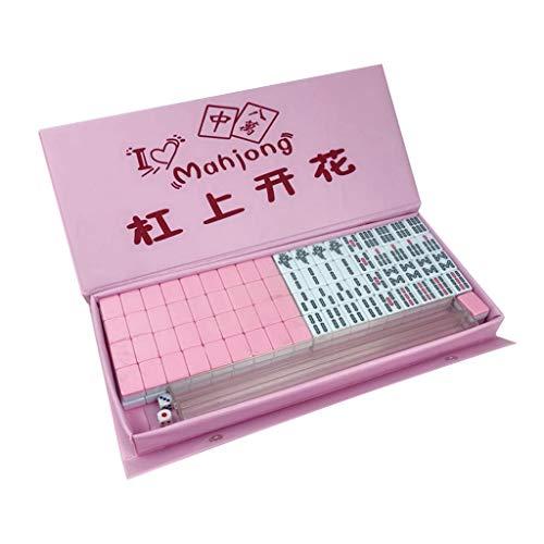 holilest Mini Mahjong, Portable 24mm Mini Chinese Mahjong Juego de Juegos de Mesa de Azulejos de Doble Color con Estuche-Rosa