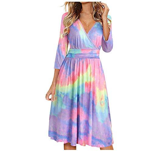 Ainiyo Damen Kleider Mode Einfarbiges Dreiviertel-Ärmel-Taschenkleid mit langem Rock Sommerkleider 50er Vintage Boho Rockabilly Cocktailkleider 3D Drucken TShirtkleider Teenager Mädchen Higlles Damen