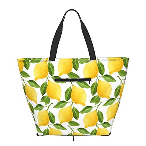Bolsa de hombro plegable de limón para mujeres y niñas, grande, reutilizable, gran bolsa de viaje, bolsas de hombro de moda