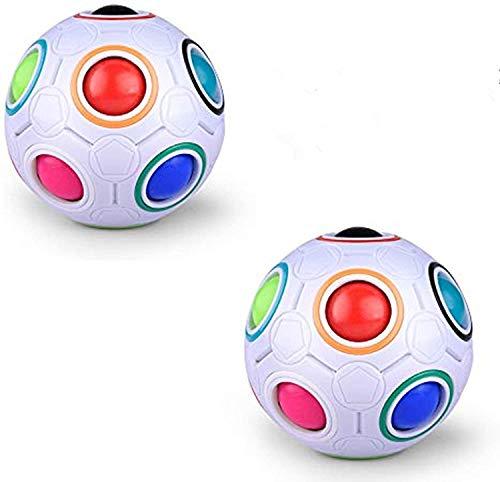 Vdealen Regenbogenball Zauberball,2 Stück Puzzles 12 Löcher Regenbogenball Bundle Spaß Lernspielzeug für Kinder