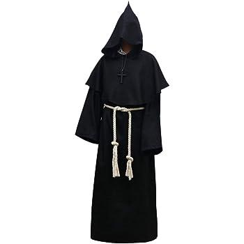 Bata de Halloween unisex con capucha, disfraz de monje de cosplay ...