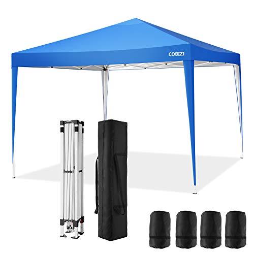 COBIZI Pavillon 3x3 Wasserdichter Gartenpavillon Zelt Hochzeitsfeier Instant Event Shelter mit 4 Sandsäcken, Pfählen x 8, Seilen x 4