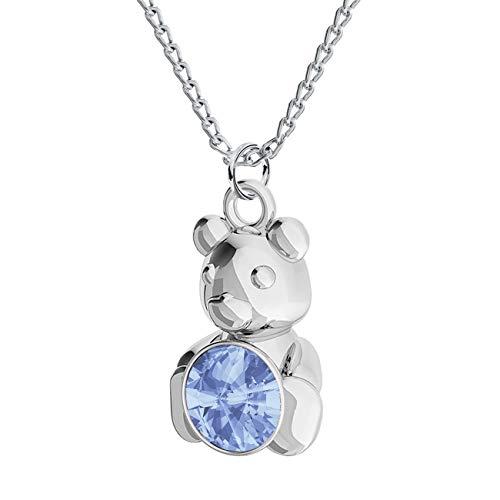*Beforia Paris* Halskette - Cute Bär - Viele Farben - mit Silberkette aus 925 Silber mit Swarovski® Elements Anhänger, Halskette mit Schmucketui PIN/75 (Light Sapphire)