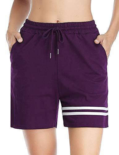 Doaraha Pantalones Corto Pijama Mujer 100% Algodón Pantalones Cortos de Raya Pantalones Deportivo Corto para Fitness,Running,Dormir