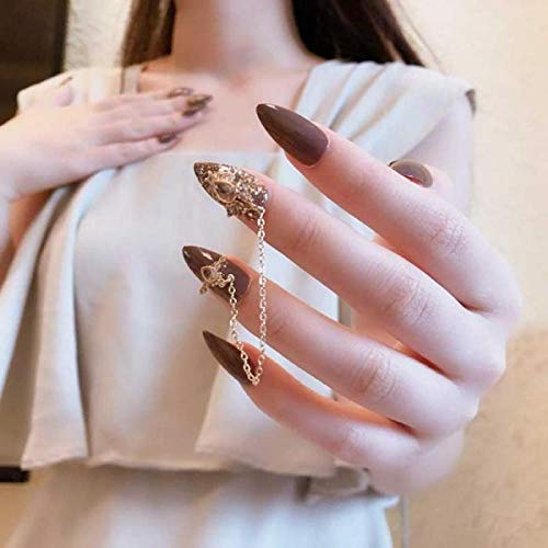 CLOAAE 24 Pcs faux nail Red Detachable Long Nail Patch with Pointed Gray Golden Shiny Fashion Chain with press on Stick TN