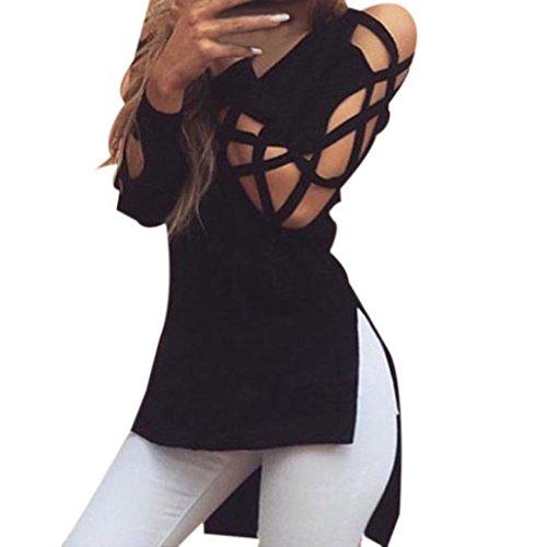 Elecenty Damen Sexy Tops Bluse Pulli T-Shirt Hohle Hülse Solide Kapuzenpullis Frauen Hemden Lose Hemd Pullover V-Ausschnitt Irregulär Sweatshirts Blusen Mode Hemd Blusentop (M, Schwarz)