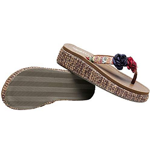 Holibanna 1 par de Zapatillas de Playa Antideslizantes de Tacón Medio Calzado de Verano