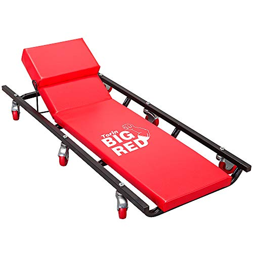 """BIG RED TR6452 Torin Rolling Garage/Shop Creeper: 40"""" Padded Mechanic Cart with Adjustable Headrest and 6 Casters, Red"""