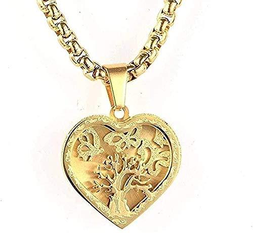 niuziyanfa Co.,ltd Collar de Acero Inoxidable Joyas Collar para Hombre Árbol del Amor de la Vida Collar con Colgante de Acero de Titanio Regalo de Oro y Oro para Mujeres Hombres