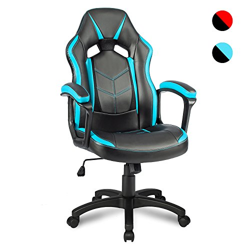 Merax Bürostuhl Schreibtischstuhl Drehstuhl Racing Stuhl Gaming Stuhl Sportsitz mit PU Kunstleder (Blau)