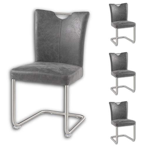 Stella Trading 4er Set Schwingstuhl mit Edelstahl Gestell und Microfaser Bezug, anthrazit - Bequemer Freischwinger Stuhl für Esszimmer & Küche - 45 x 95 x 55 cm (B/H/T)