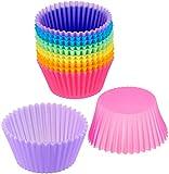Voarge 12 moldes de silicona para tartas, moldes de horno, reutilizables, antiadherentes, reutilizables, reutilizables, para tartas, magdalenas, pudín, tartas, etc.
