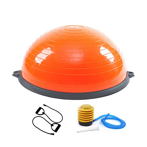 ISE Balance Trainer, Halbkugeltrainer, Ø 62 cm, mit Widerstandskabel und Pumpe, für Yoga, Gymnastik und andere Sportarten (orange)