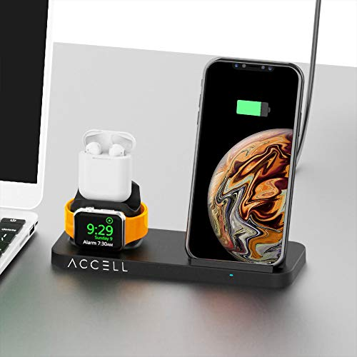 Accell Power 3-in-1 Fast-Wireless Charger - 3 in 1 Wireless Charger for Smartphone, Apple Watch, and Airpods - Qi-Compatible, Black, Small