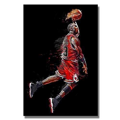 wZUN Lienzo Abstracto Pintura Slam Dunk Goofy Baloncesto póster impresión Mural Imagen Sala de Estar decoración del hogar 60X90cm Sin Marco