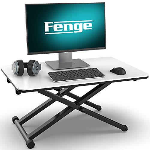 Fenge Sitz Steh Computertisch Höhenverstellbarer Schreibtischaufsatz L65* W40*H(6-40) cm Für Büro Zuhause Weiß SD255003WW