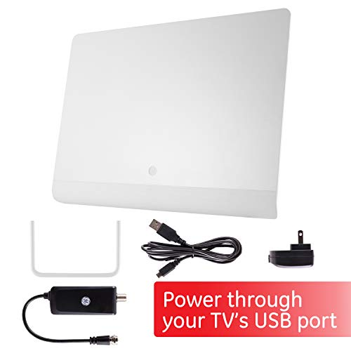 GE Pro Flat Indoor TV Antenna, USB Power, Slim Home Decor Long Range Antenna, Digital, HDTV Antenna, Smart TV, 4K 1080P VHF UHF, 6ft Coaxial Cable, Amplifier, Signal Booster, White, 33698