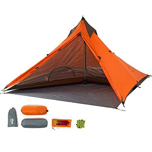Tentock Tienda de Campaña Ultraligera de 3 Estaciones Tienda de Pirámide1 Persona Impermeable para Caminatas Alpinismo Trekking(Naranja)