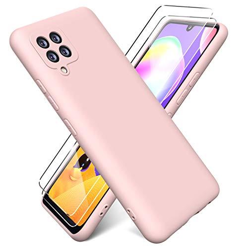 Oududianzi - Hülle für Samsung Galaxy A42 5G Hülle Weiches Flüssige Silikon + [2 Stück Panzerglas Bildschirm Schutzfolie], Reiner Farbe Superdünne Stoßfeste Gummihülle - Rosa