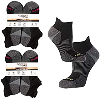 Copper Fit (10 Pairs) Womens Socks, Ankle Socks, Copper Socks with Pull Tab: Athletic Socks, Compression Socks Women