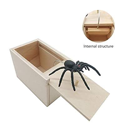 Prank Scare Box?Spider Prank Box,Wooden Surprise Box?April Fool's Day Spoof Funny Scare Small Wooden Box Spider Scary Girls for Kids Adults Party Favors Gifts (Spider)