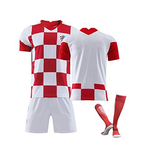 Männerfussball Trikot-Kroatien Nationalmannschaft Fußballtrikot für -Modric10# Mandzukic 17# Fußball Sportbekleidung Ermer/Kind Kits Für-Fußballfans Trikot-WhiteRedC-XXS
