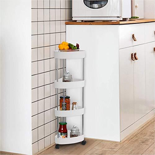 LC&TEAM Eckregal Küche Regal Küchenregal stehend Badregal schmal Rollwagen klein Standregal weiß Nischenregal Bad Badrollwagen mit 4 Etagen Kitchen Trolley