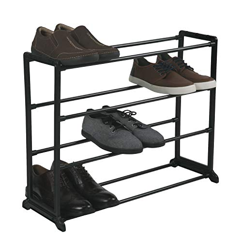 Simplify Stackable Shoe Rack, Holds up to 12 Pairs of Shoes. Stacking Capability to Maximize Space. Good for Sneakers, Boots, Loafers, Heels & Slippers, Black (23202-BLACK)