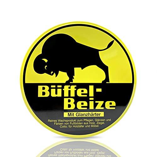 Büffel | Büffel-Beize Nr. 1 gelb 250ml | Gelbe Wachsbeize | Beize und Pflege von Holz, Holzböden und Möbeln | Strapazierfähig | Wasserabweisend