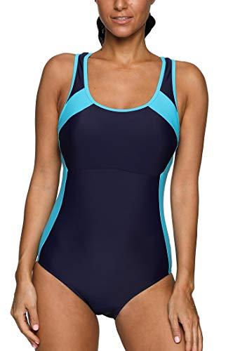 Anwell Damen Sport einteilig Schwimmanzug sportlich Wettbewerb Badeanzug Marineblau L