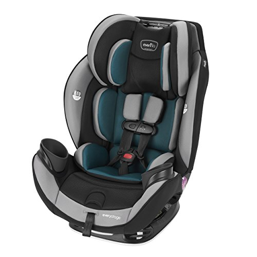 Evenflo EveryStage DLX All-in-One Car Seat, Reclining Car Seat,Infant Convertible & Booster Seat,Grows with Child Up to 120 pounds, Angled for Comfort & Safety, 3-Times-Tighter Installation, Reef Blue