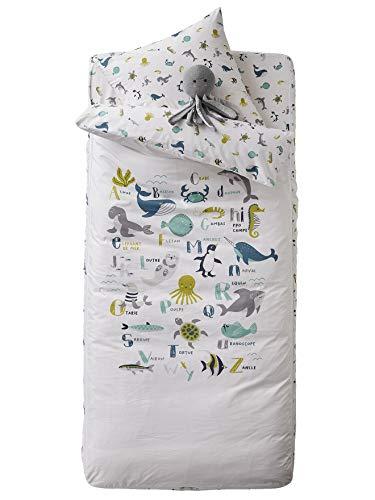 Vertbaudet Kinder Schlafsack-Set,Ozean mit Innendecke wollweiß/Tiere 90x140
