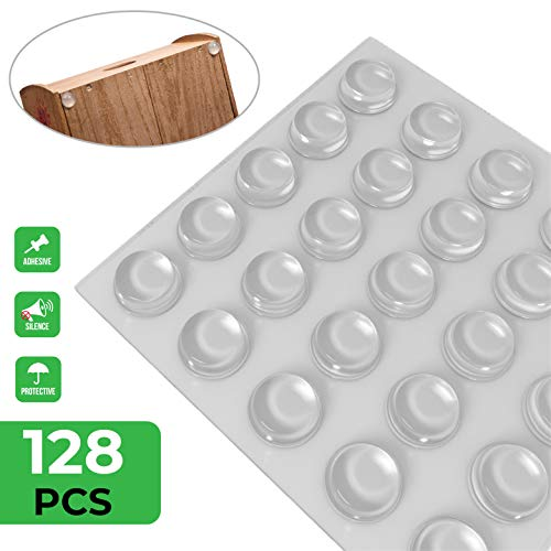 """Self Adhesive Cabinet Door Bumpers - 128 pcs 1/2"""" Diameter Clear Pads for Drawers, Cutting Boards, Glass Tops, Small&Kitchen Furniture, Picture Frames, Rubber Stoppers/Dots for Wall and Wooden Floor"""