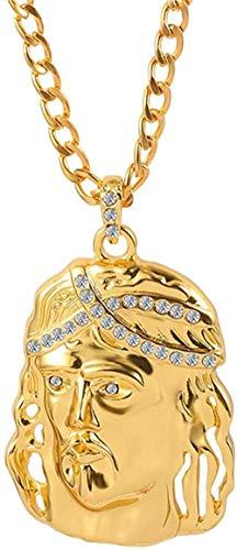 YOUZYHG co.,ltd Collar de Hip Hop Cruz t Collar de Color Dorado con Colgante de Cristal con Corona