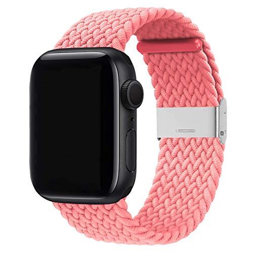 Seltureone Compatible con Apple Watch Bands 38 mm 40 mm 42 mm 44 mm Mujeres Hombres Ajustable Trenzado Solo Loop Elástica Deporte Pulsera para iWatch Serie 6 / SE / 5/4/3/2/1 con Hebillas